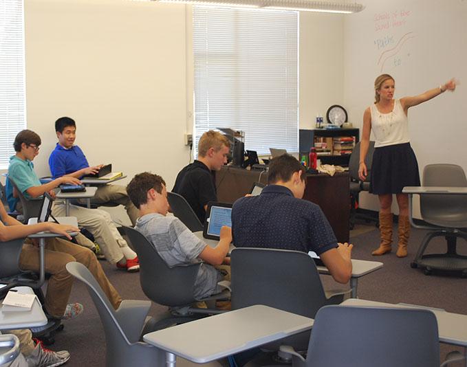 Ms. Dzida teaches freshmen during an English I class.