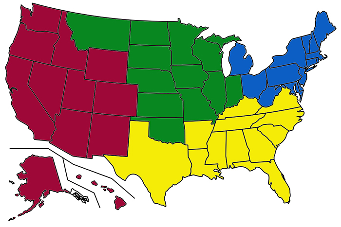 The United States divided into 4 sub-countries.