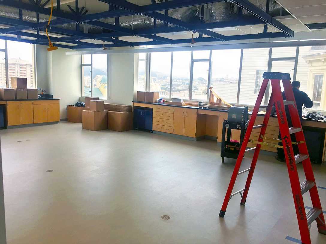Renovations of the physics classroom on the Pine and Octavia campus continued into freshmen orientation on Monday and Tuesday. Workers were on a tight schedule to finish the renovations in time for the start of school today.