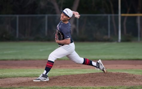 Achilles Arnold '17 delivers a pitch during Friday night's game versus Sonoma Academy. Arnold pitched four innings and received the win with seven strikeouts and only two earned runs.