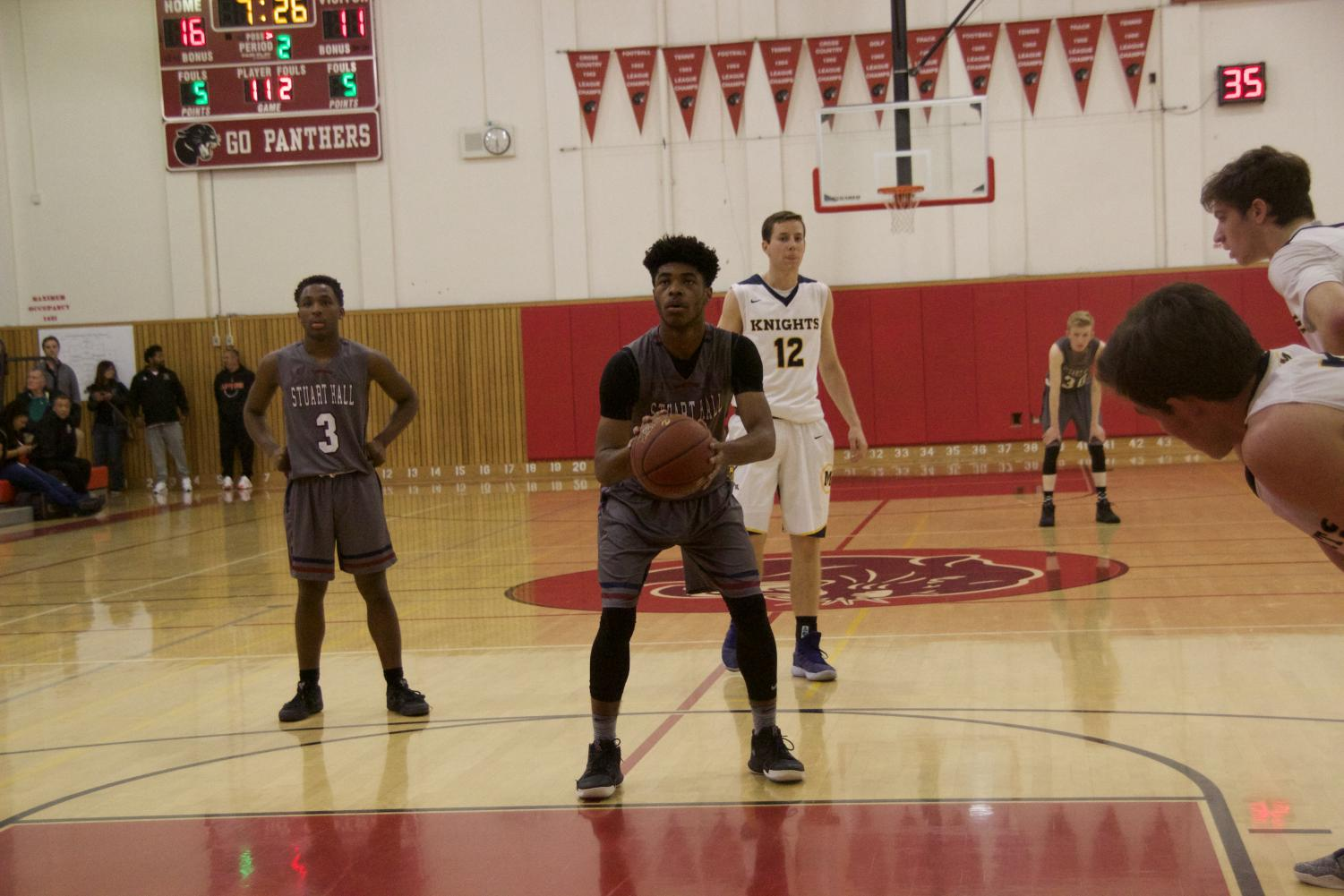 Miles Amos '19 attempts a free throw against Sacred Heart Prep Atherton in the Burlingame Lions Club Tournament. Amos tied a  tournament record with 13 made free throws in the contest.
