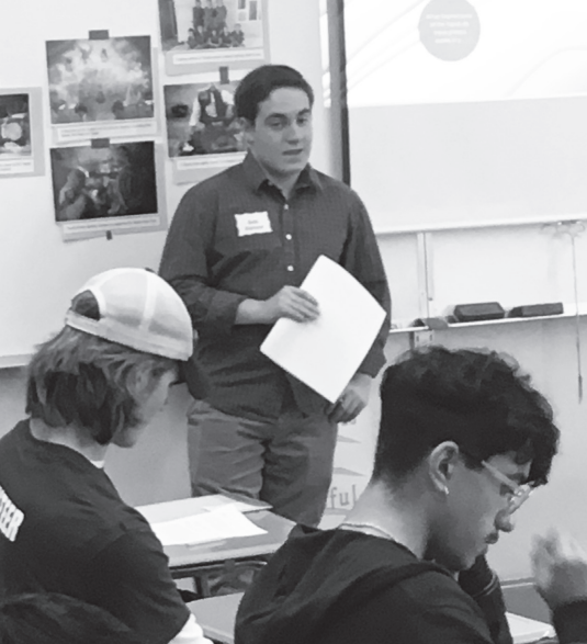 Seth Eislund '18 instructs a session during the March 4 Day of Learning event at Galileo High School. Eislund began his studies on the topic of the Yazidi Genocide through his International Baccalaureate Extended Essay.