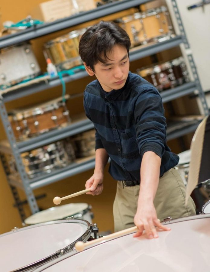 Shun Kodaira-Lopez practices playing the timpani. Kodaira-Lopez began his musical career when he was just 4 years old.