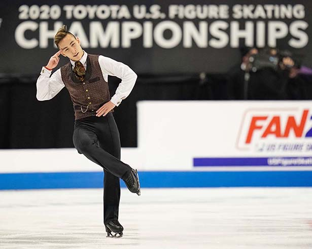 Senior athlete Dinh Tran performs in the 2020 Toyota U.S. Figure Skating Championships where he took eighth place. Tran's performance was live-streamed to the community in the Columbus Room in 2019, when he took second place in the U.S. Junior Championships.
