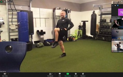 Athletics, strength and conditioning coach Barclay Spring hosts an upper body workout via Zoom on Sept. 18. The Athletics Department began organizing a variety of daily workouts and sport-specific team meetings after the North Coast Section postponed Fall sports until Dec. 14.