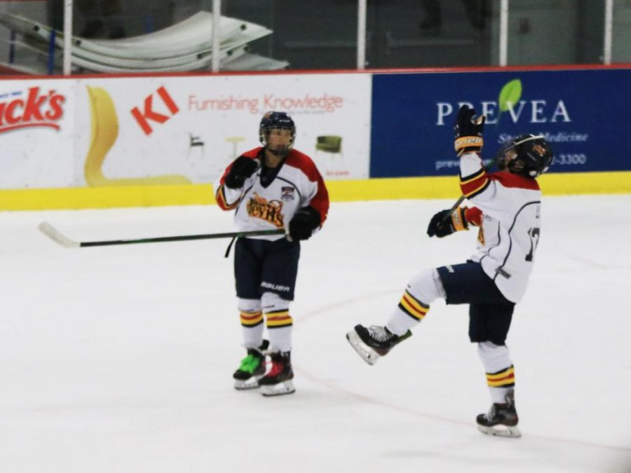 Junior Matt Lim and senior Trieu Tran celebrate after having just scored a goal during their semi-final game at the 2021 USA Hockey National Championships. The Tri-Valley Blue Devils team, which both student athletes play on, placed third in the Tier II 18 and Under division.