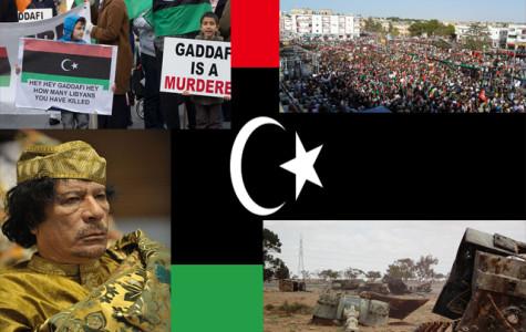 Clockwise: Protestors in Libya, Destroyed Loyalist Howitzer, President Gaddafi, Irish Protestors | Collage of Wikimedia Images