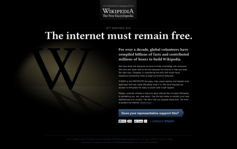Wikipedia Blacked out on January 18th in Protest of SOPA | Image CC-BY-NA Wikimedia Foundation