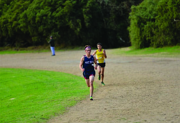 Eli Horwitz '17 leads the cross country race from the front. Horwitz won every league race this season.