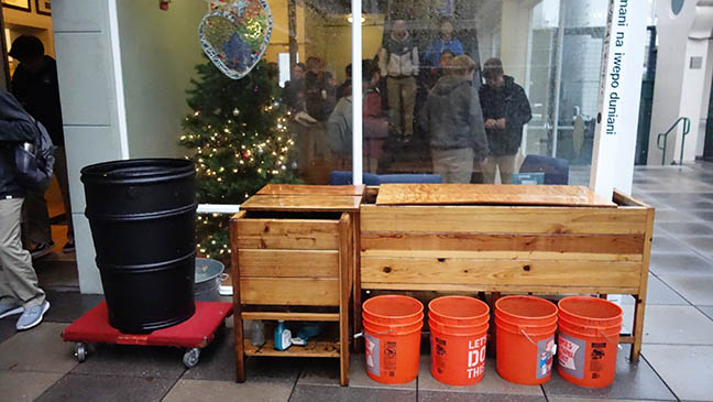 The+barrel+sits+outside+the+lobby+in+the+Courtyard+of+the+Pine+and+Octavia+campus.+It+was+placed+due+to+Januarys+strong+rains+causing+the+rain+gutters+to+overflow.
