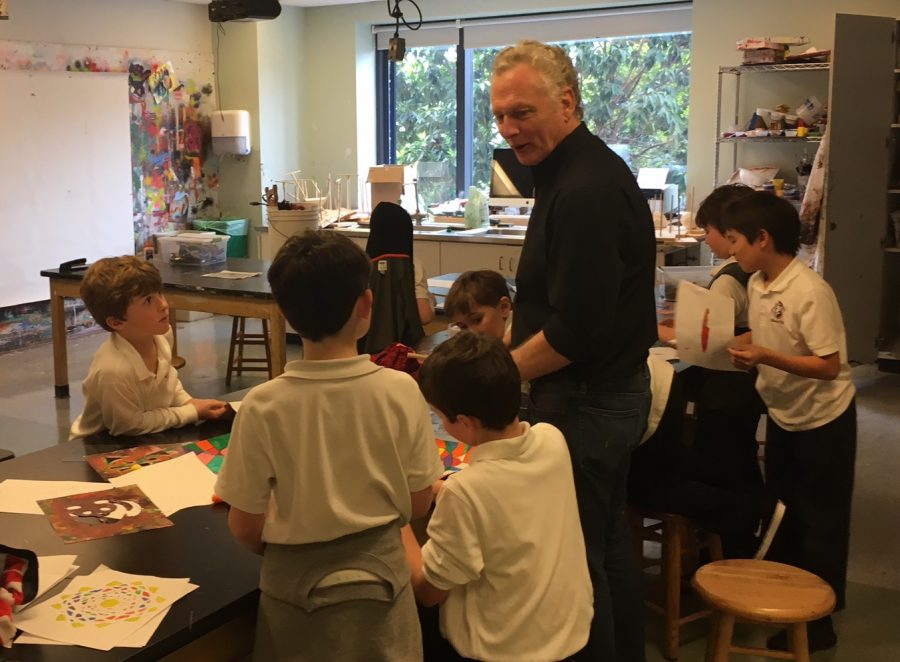 Will Jaggers works with his Stuart Hall Boys students during a scheduled art class. Jaggers' art will be featured in a campus art show that opens in the Syufy Gallery tomorrow night.