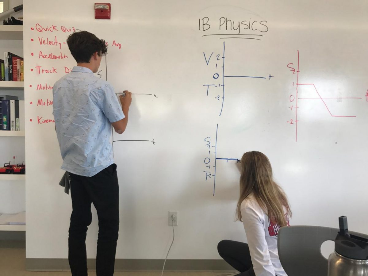 Year 1 International Baccalaureate students work on physics problems on the whiteboard. Year 1 IB Physics is being taught on both the Broadway and the Pine-Octavia Campus, although all sections are coed.