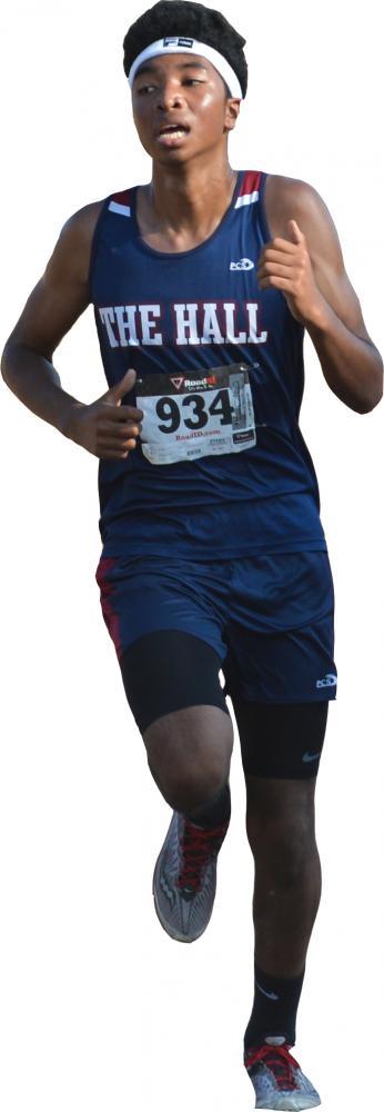 Phoenix Aquino-Thomas 18 runs during the College Prep Invitational. Aquino-Thomas is the top runner for the Knights.