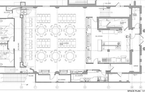 Plans for the new Columbus Room show a new commercial kitchen, a smaller seating area and no stage. Art classes were moved to the Broadway Campus so Room 103 can be used for lunch service.
