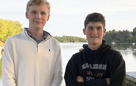 Junior Vincent Behnke stands with exchange student Jules His while visiting a lake in Sucé-sur-Erdre near Nantes, France. Behnke went to Lycée Sacré Coeur la Perverie in September 2018, and His visited Stuart Hall in January 2019.