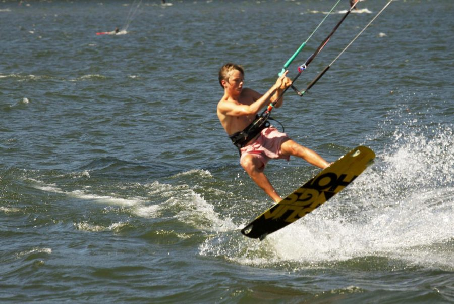 Sebastian Green kitesurfs on the Columbia River at the 2019 annual Kiteboard for Cancer event at Hood River, Oregon. Green placed first in his division and is now looking for sponsorships as he takes kitesurfing to a more competitive level.