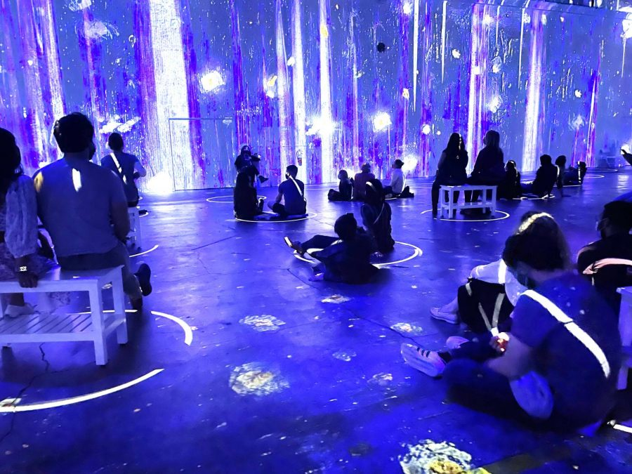 Visitors to the Van Gogh Immersive Exhibit watch as the animated projections on the walls and floor prepare to transition to Vincent Van Gogh's famous piece
